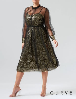 Curve - Black and Gold Sequin Mesh Long Sleeve Midi Dress
