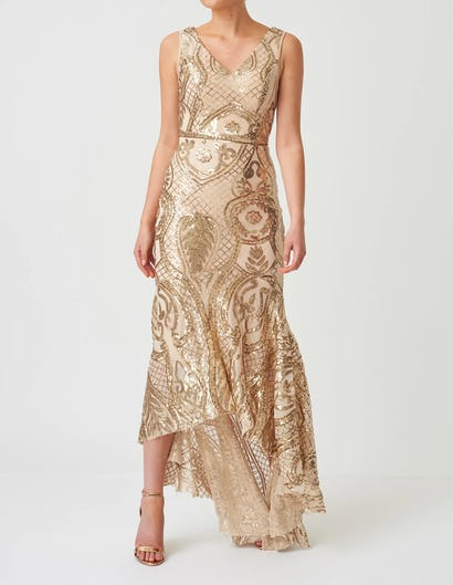 Nude and Gold Sequin Patterned Maxi Dress