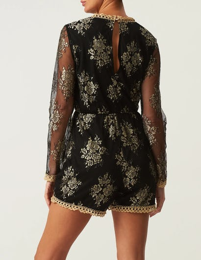 Black Long Sleeve Plunging Playsuit with Mesh Sleeves