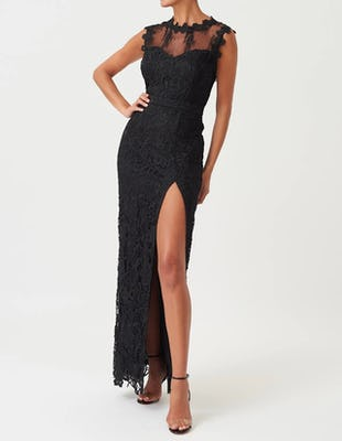 Black Lace High Neck Mesh Maxi Dress with Thigh Split