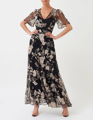 Black Maxi Dress with Mesh Floral Detailing