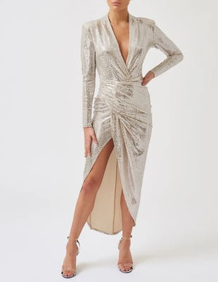 Silver Plunging Long Sleeve Wrap Midi Dress