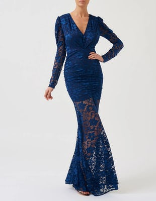 Navy Lace Long Sleeve Maxi Dress