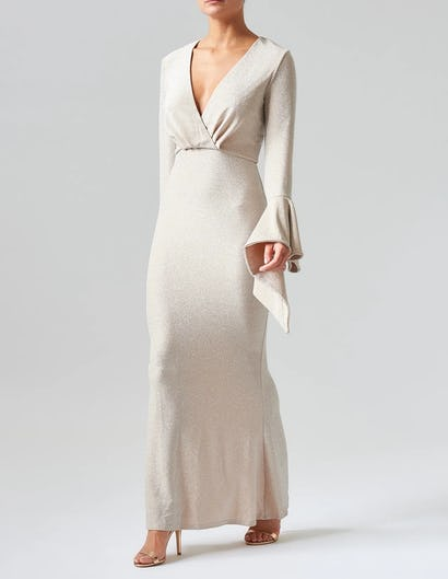 Nude Sparkly Long Sleeve Maxi Dress with Ruffle Detailing