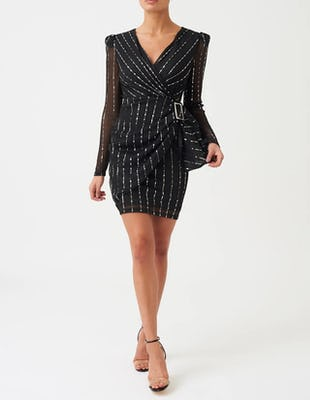 Black Pinstripe Long Sleeve Buckled Waist Mini Dress