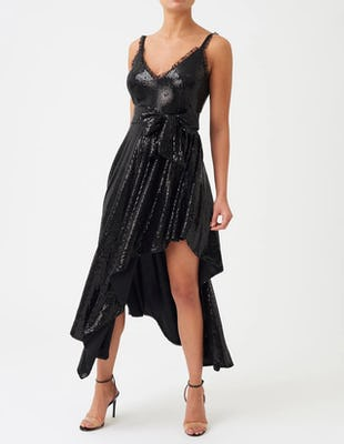 Black Sequin Asymmetric Midi Dress