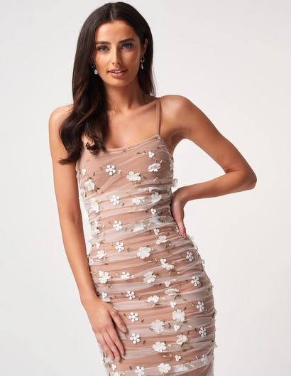 Nude and Ivory Netted Ruched Bodycon Midi Dress with Floral Detailing