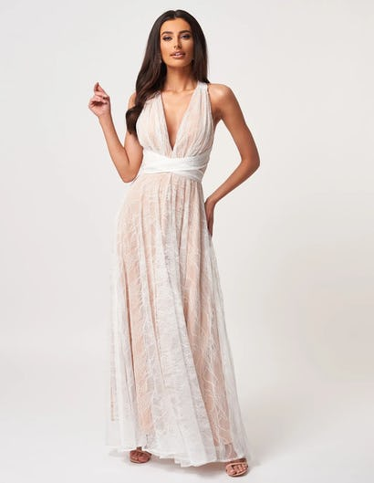 Ivory and Nude Halter Neck Maxi Dress