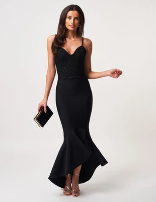Black Bodycon Midi Dress with Fishtail Hem