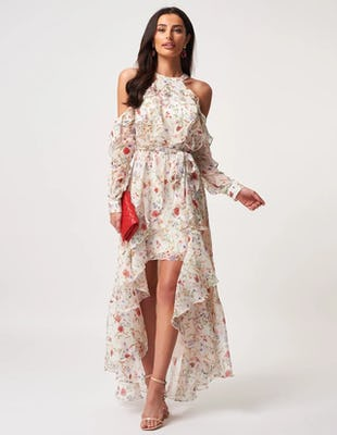 White Floral Ruffle Cold Shoulder Drop Hem Maxi Dress