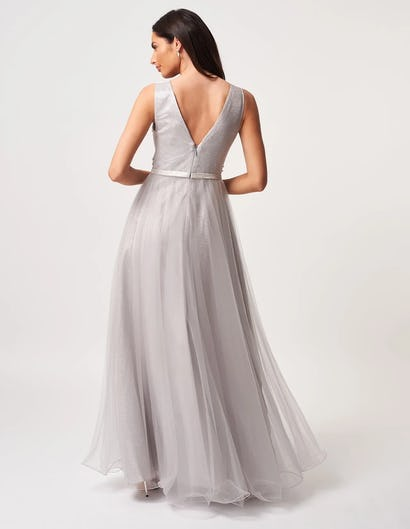 Grey Shimmering Maxi Dress with Tulle Skirt