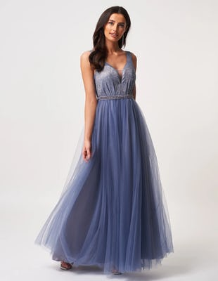 Steel Blue Chiffon Embellished Maxi Dress