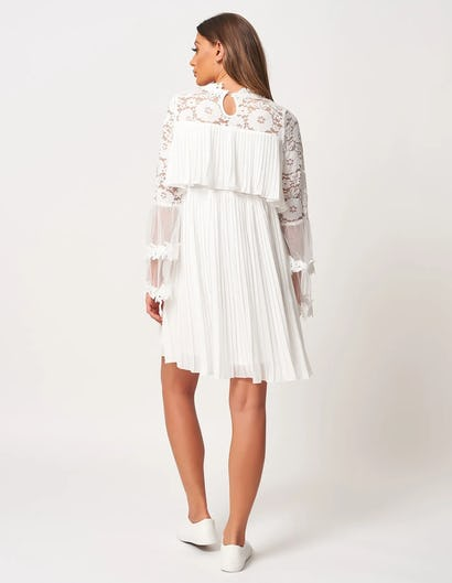 Ivory Tiered Lace and Pleated Mini Dress