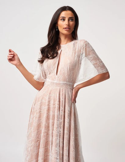 Ivory and Nude Lace Halter Neck Midi Dress