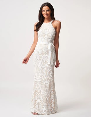 Ivory Embellished Racer Maxi Dress