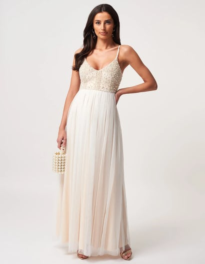 Ivory Embroidered Plunge Neck Maxi Dress