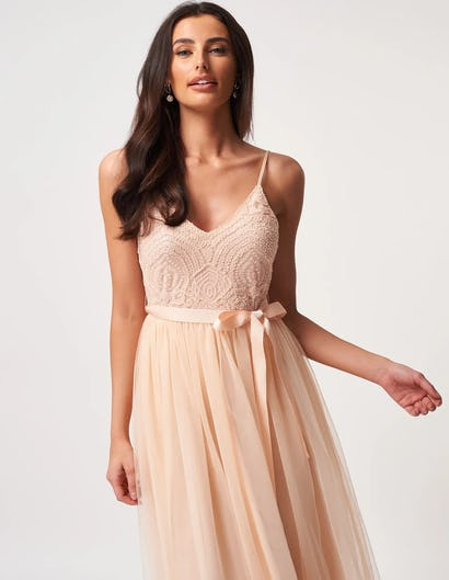 Peach Tulle Midi Dress with a Sequin Embroidered Bodice