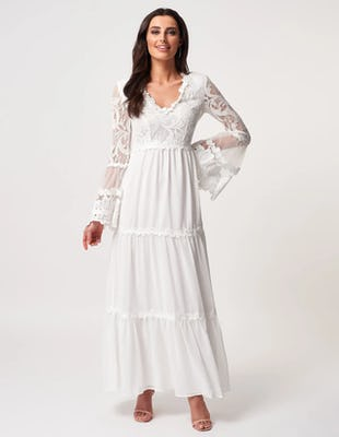 Ivory Long Sleeve Lace Detailed Maxi Dress