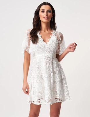 Ivory Lace Short Sleeve Skater Mini Dress