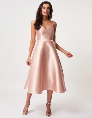 Nude Satin A-Line Midi Dress