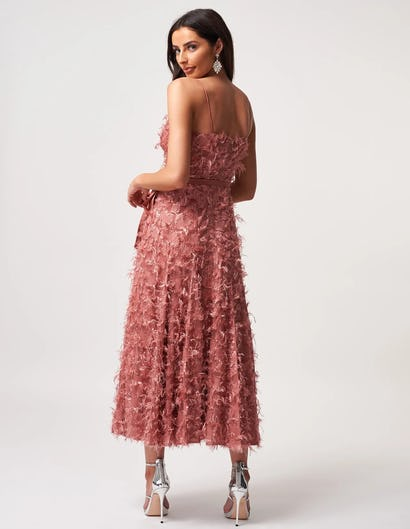 Dusty Rose Textured Midi Skater Dress