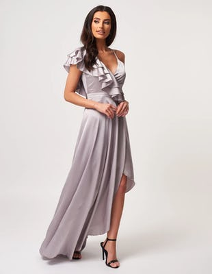 Grey Ruffle Asymmetric Maxi Dress with Thigh Split