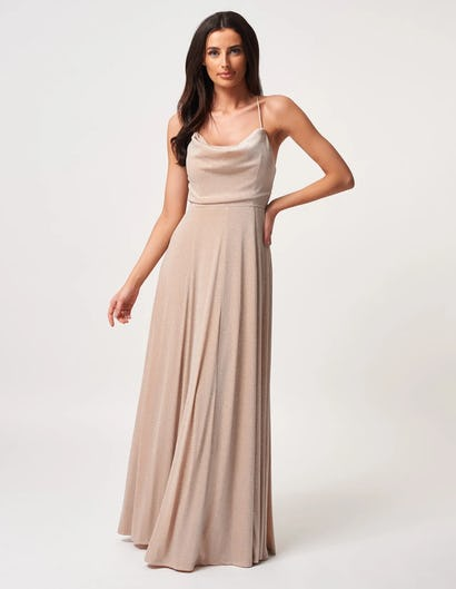 Nude Sparkly Strappy Maxi Dress