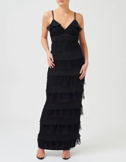 Black Sheer Lace Maxi Rahrah Dress