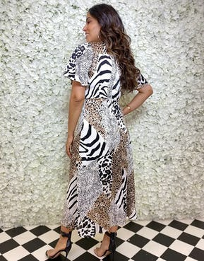 Animal Print Mix Midi Dress