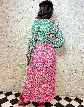 Two-Tone Floral Print Long Sleeve Maxi Dress