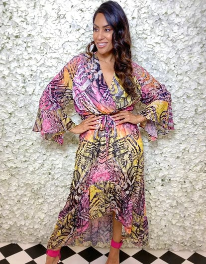 Multi-Colour Snake Print Chiffon Wrap Dress
