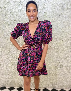 Ditsy Floral Print Mini Dress with Exaggerated Sleeve