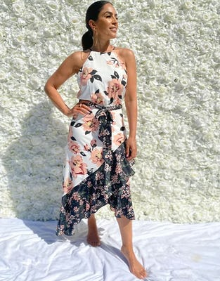 White Tie Waist Floral Asymmetric Dress