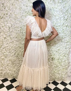 Ivory Sheer Spotted Maxi Dress with Plunge Neckline