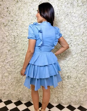 Blue Ruffle Dress with Gold Button Detail