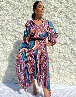 Geometric Pleated Long Sleeve Asymmetric Midi Dress