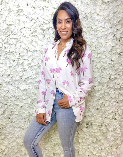 White and Pink Palm Tree Print Blouse