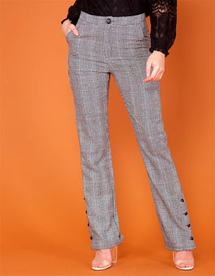 MYLIE - Grey Check Flared Trousers