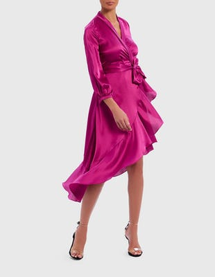 Fuchsia Satin Asymmetric Ruffle Wrap Dress