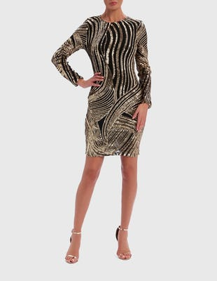 Gold Patterned Sequin Dress