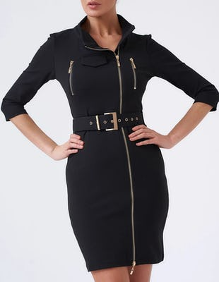 Black Zip Front Bodycon Dress with Buckle Belt