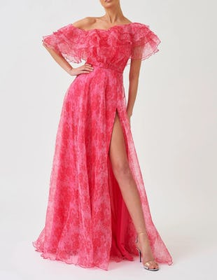 Pink Floral Print Exaggerated Ruffle Bardot Maxi Dress