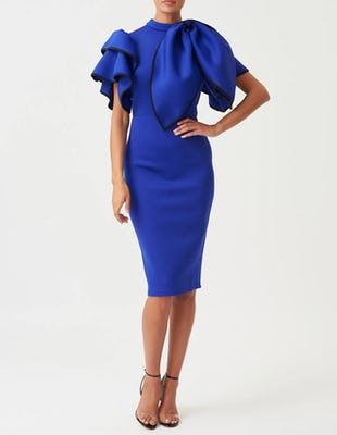 Blue High Neck Scuba Ruffle Bodycon Dress with Detachable Bow