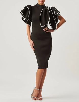 Black High Neck Scuba Ruffle Bodycon Dress with Detachable Bow