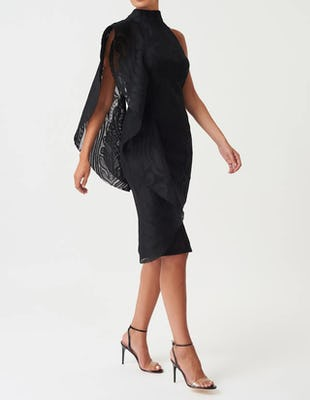 Black Lace High Neck Midi Dress with Exaggerated Frill