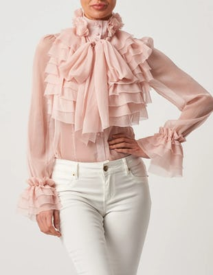 Blush Exaggerated Ruffle Chiffon Pussybow Blouse