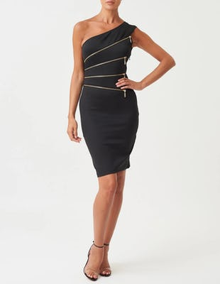 Black One-Shoulder Bodycon Dress with Gold Zip Detail