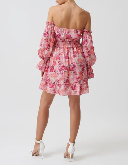 Pink Floral Mini Dress with Balloon Sleeves
