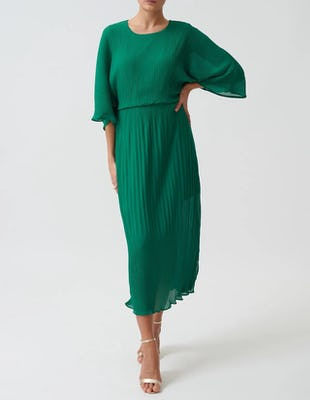 Green Pleated Batwing Midi Dress