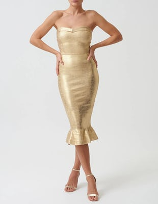 Gold Bardot Bodycon Midi Dress with Peplum Hem
